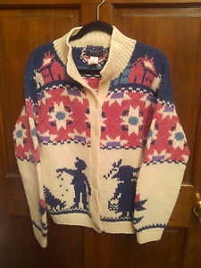 cb46a22e9b983 Woolrich 100% Wool Sweater Jacket Cardigan Multi Color Dutch Country ...