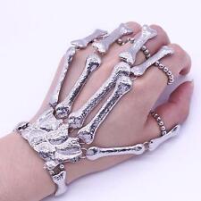 Punk Gothic Hand Finger Ring Skull Bone Devil Talon Skeleton Slave Bracelet Cuff