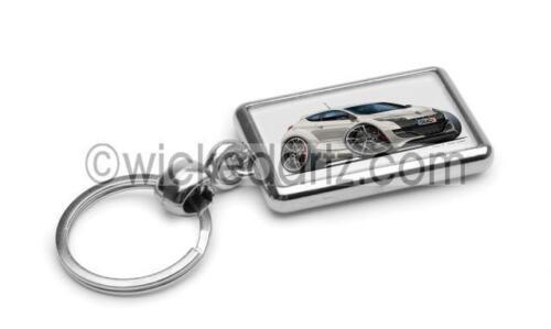 RetroArtz Cartoon Car Renault Megane RS in White Premium Metal Key Ring