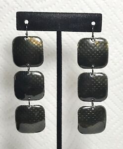 Long-Dangle-Earrings-With-Square-Charcoal-Textured-Links