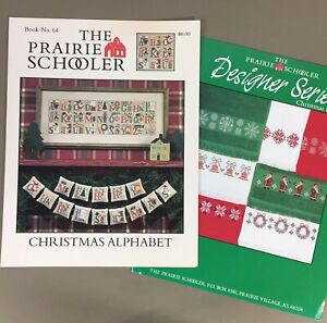 Lot of 2 Prairie Schooler Cross Stitch Charts Christmas Alphabet & Xmas Borders