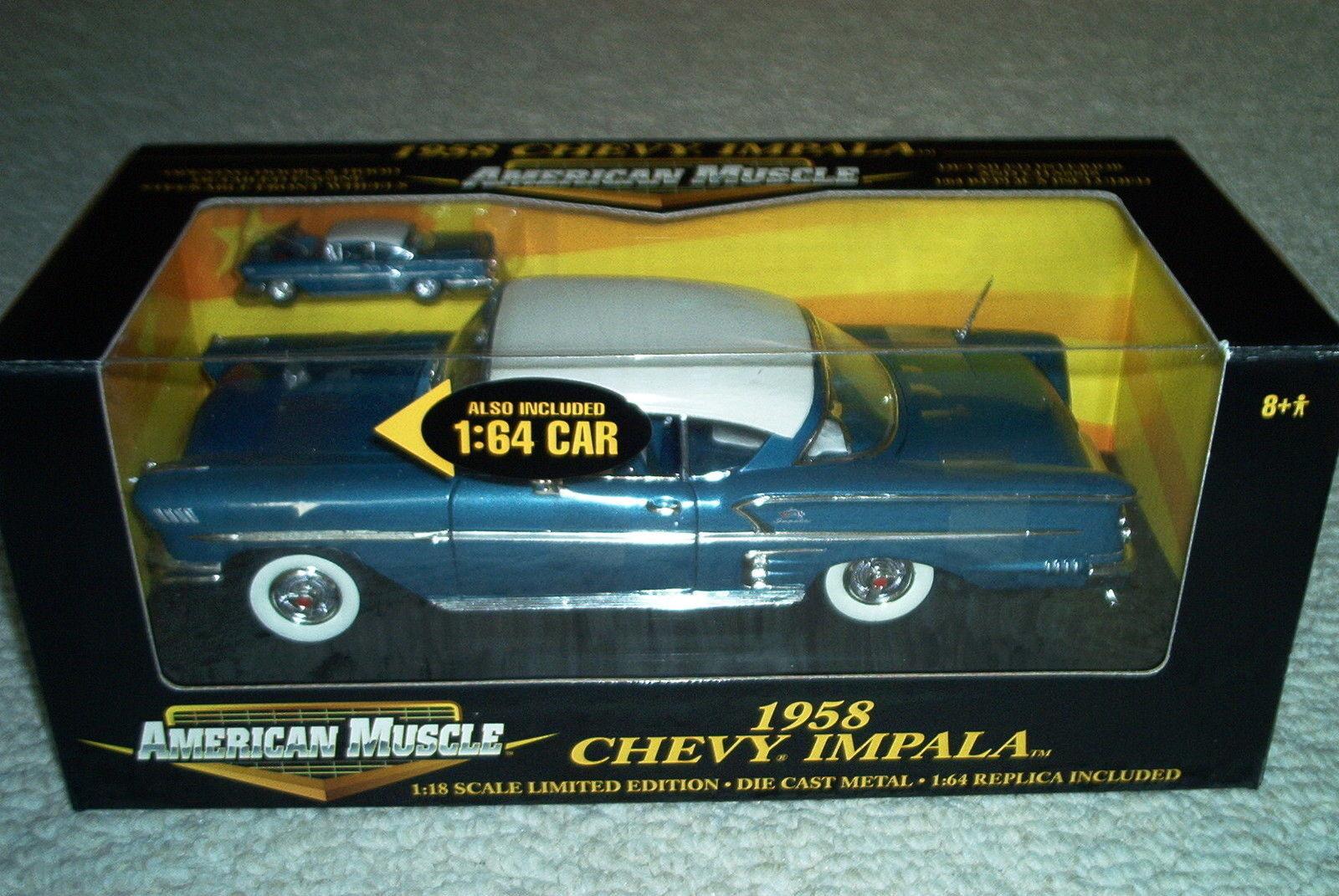 RARE Ertl - 1 18 & 1 64 - 1958 Impala Hardtop - bluee  Two Car Set