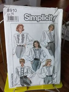 Oop-Simplicity-8910-misses-blouse-cuffs-ruffled-front-seams-sz-16-NEW
