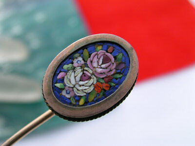 Victorian Gold Filled Micro Mosaic Flower Stick Pin