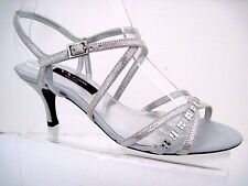 Nina Silver Reptile Print Leather Strappy Curran Jeweled Sandals Size 6 1/2 M