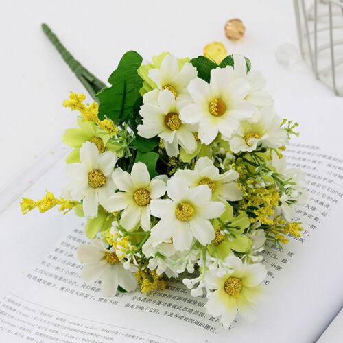 Outdoor 28 Flowers Heads Artificial Silk Daisy Bunch Wedding Home Grave Bouquet