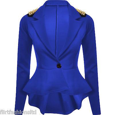 Womens Spike Studded Jacket Ladies Peplum Frill Blazer Tail Back Sexy Top 8-14