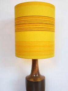 Original-60s-70s-Fabric-Lampshade-Retro-25cm-Drum-Stripey-Yellow-Orange