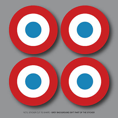 4 x France French Air Force Aircraft Roundels Vinyl Stickers Deal 50mm SKU2749