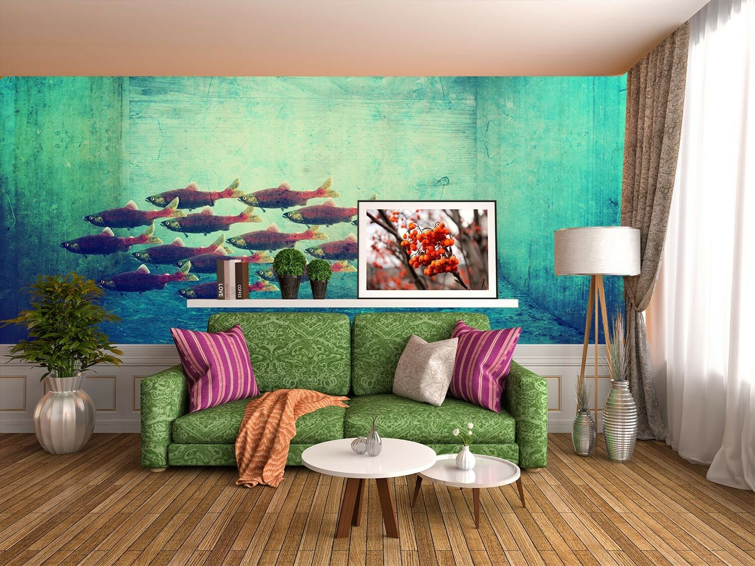 3D Fish Group Pond 563 Wall Paper Wall Print Decal Wall Deco Indoor Mural Lemon