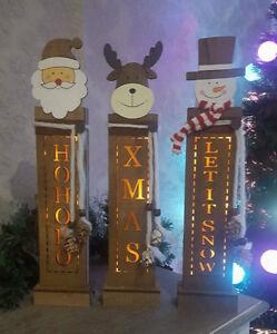 In-legno-rustico-LED-accendere-tabella-Finestra-Babbo-Natale-Decorazione-Natalizia-Addobbo