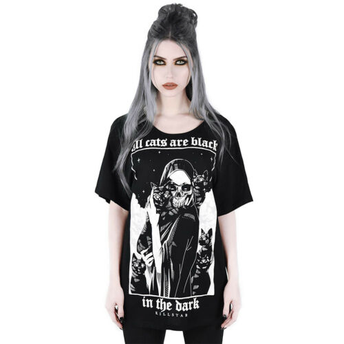 Killstar gothique goth occultisme Relaxed Top T-Shirt-Black Cats GRIM REAPER chats