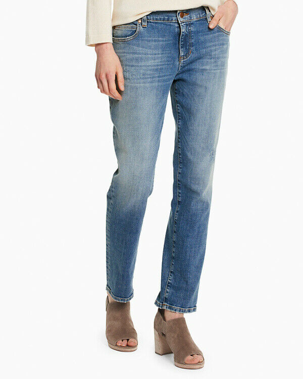 NEW Eileen Fisher Organic Cotton Stretch Boyfriend Jeans in Indigo -Size 6P  P83