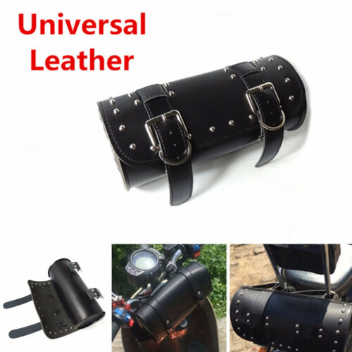Universal Front Rear Luggage Tail Saddle Bag Motorcycle PULeather Tool Bag Black