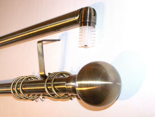 28mm Antique Brass Bay Window Curtain Pole Solid Ball Finials 3m 300cm 3000mm