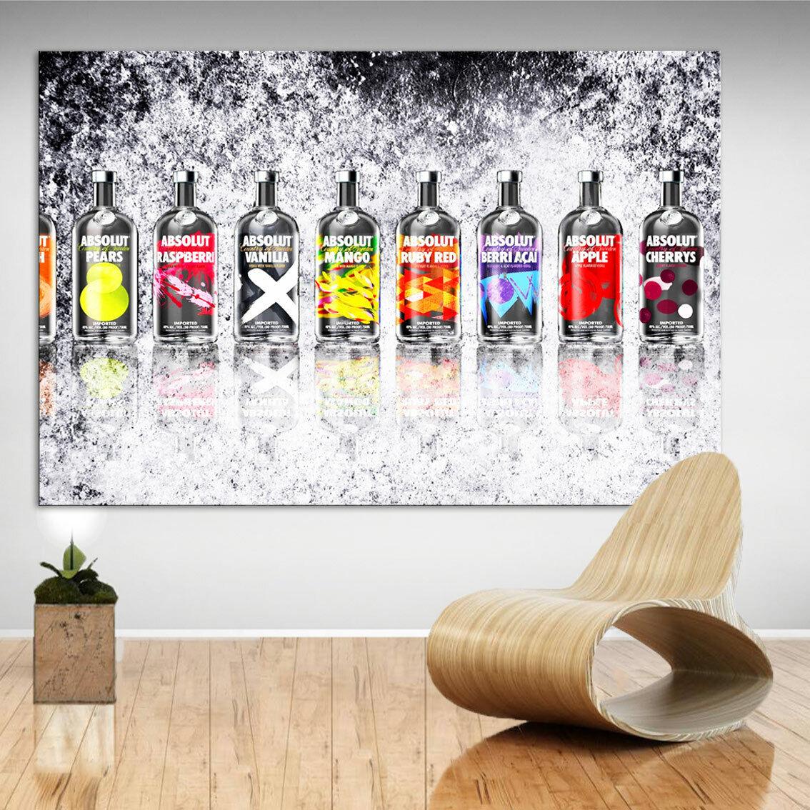 Bar Absolut Getränk Bild Leinwand Abstrakte Kunst Bilder Wandbilder Deko D0600