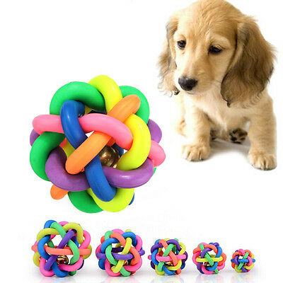 Dog Puppy Cat  Pet Knot Cotton Rope knotted Rubber Sound Ball Bell Chewing Toy D