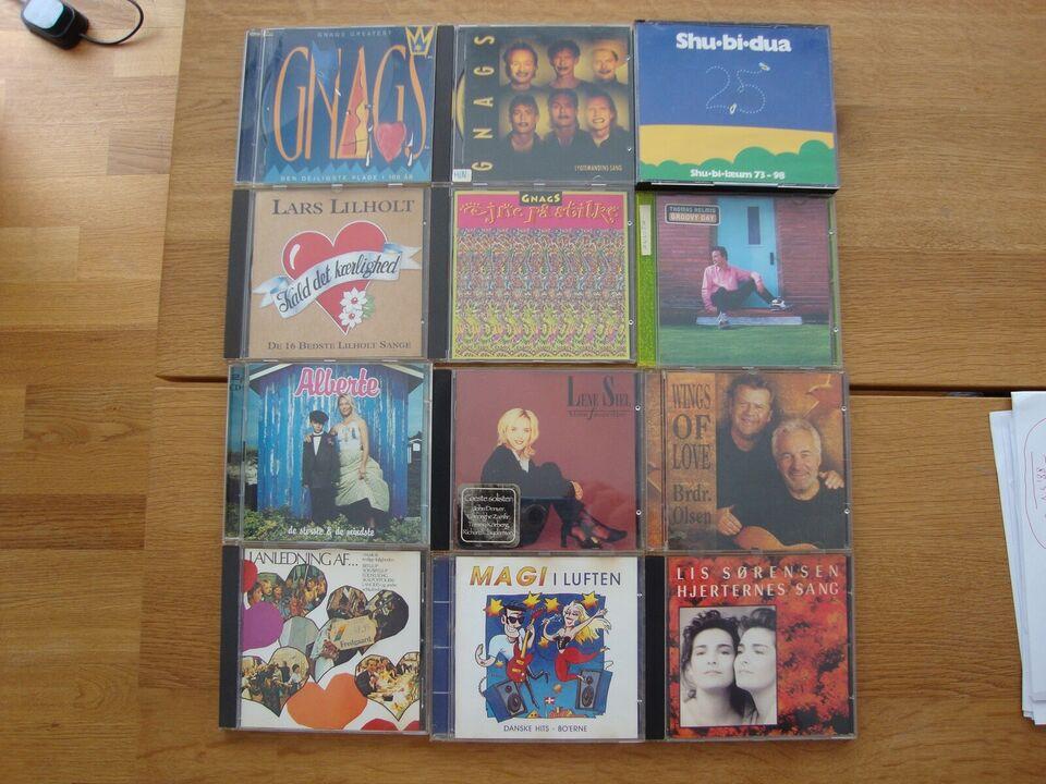9 CD'er med danske kunstnere: Samlet pris for alle 9 er 50 kr,