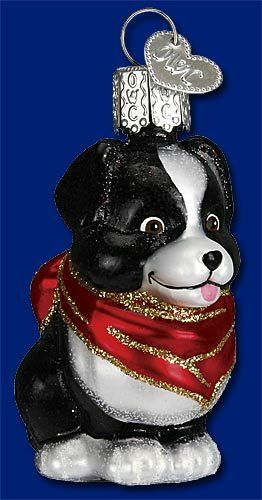 Dog Ornament Mini Glass Puppy With Scarf Old World Christmas 12333  8