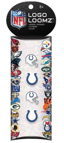 4 Charms /& 100 Loom Bands Pick Team NFL Football 2013 Logo Loomz Charm Pack