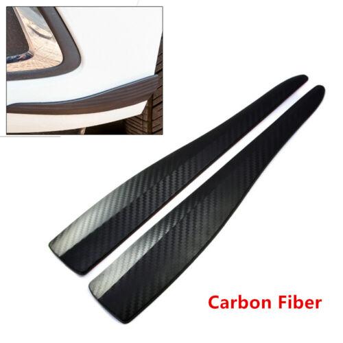 2PCS Carbon Fiber Auto Bumper Corner Lip Side Protector Strap Anti-Scratch Guard