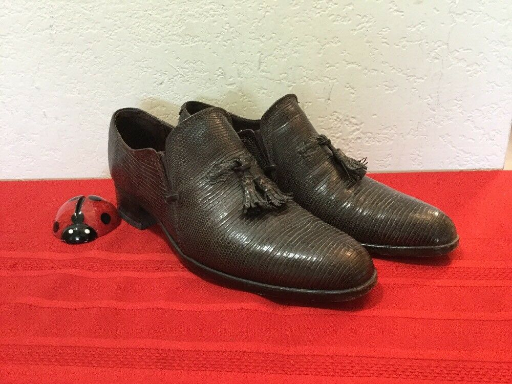 Men Shoe  By MAUS & HOFFMAN ITALY 89946 Snakeskin Brown Size 7