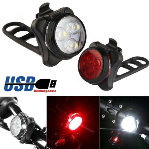 Bicycle Bike 3 LED Head Front Tail Light Lamp USB Rechargeable With Clip Set