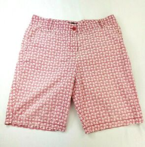 Talbots Womens Size 10 Pink Cotton Stretch Long Bermuda Walking Shorts w Fish