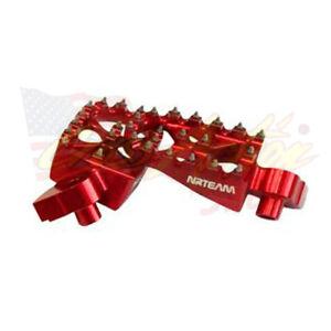 NRTEAM-COPPIA-PEDANE-MAGGIORATE-ALLUMINIO-FOOT-PEGS-HONDA-CR-125-2005-ROSSE-RED