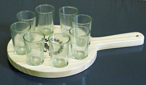 Holztablett mit 8 Schnapsgläser Set Stamper á 40 ml Schnapsträger  Schnapsrunde
