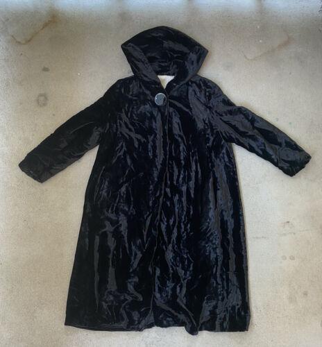 Vintage 30s 40s silk velvet hooded opera mourning