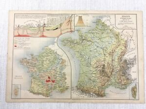 Details about 1877 Antique Map of France French Physical Geological Chart  Hand Coloured 19th C