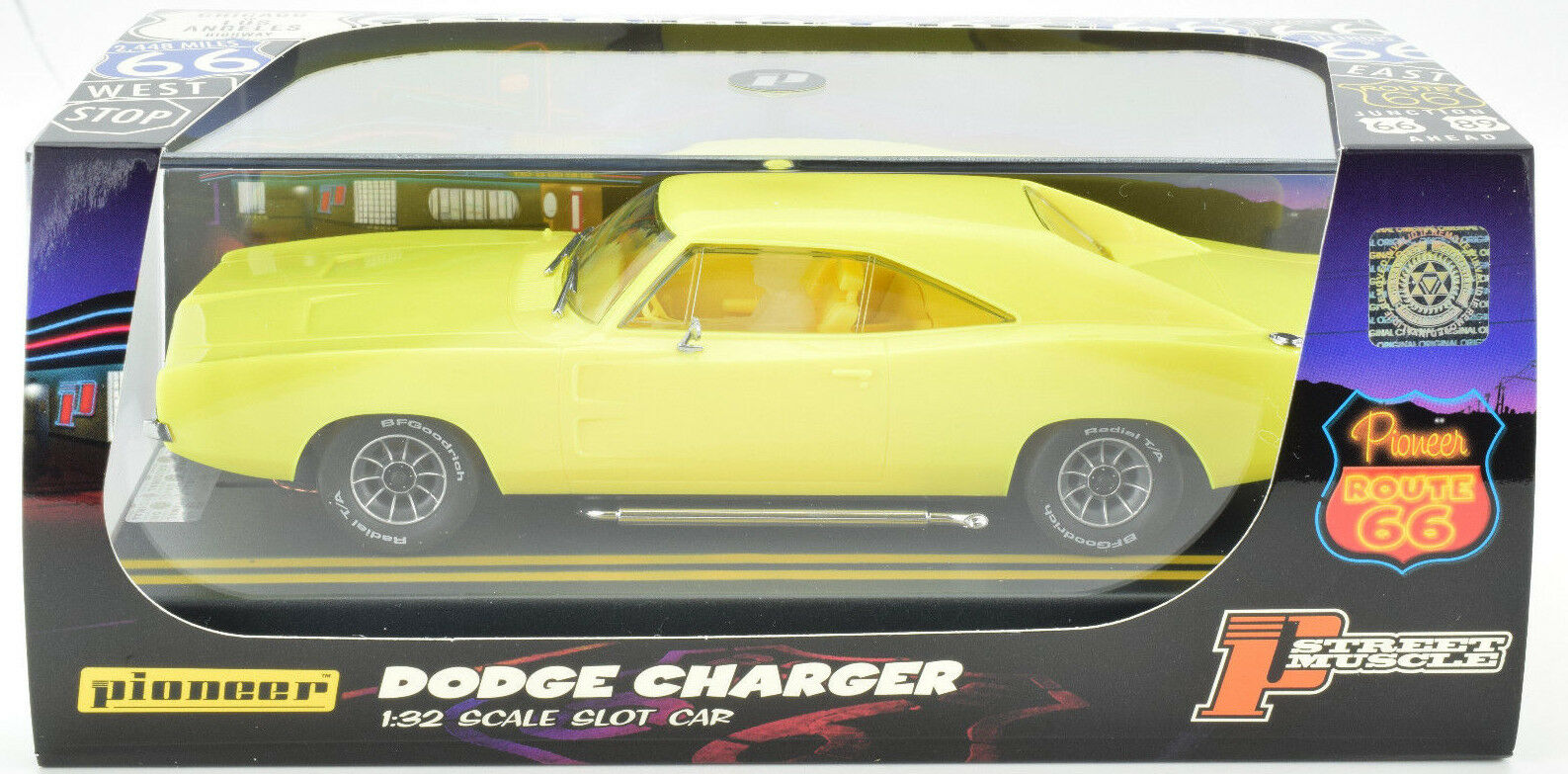 Pioneer 1969 Dodge Hemi Charger Yellow J-Code Predotype 1 32 Scale Slot Car
