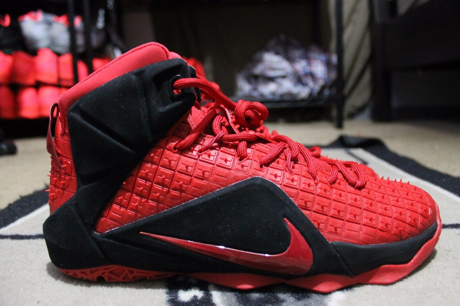 NEW Nike LEBRON 12 NikeiD ID Sz 9.5 Red/Black