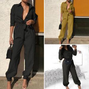 Mode-Femme-Combinaison-Coupe-slim-Manche-Longue-Ceinture-Loose-Pantalon-Plus