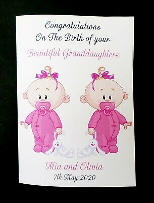 You Have New Twin Daughters Girls New Baby Customised Card