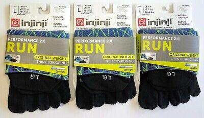 Injinji Toe Socks Running No-Show Electric Blue LOT OF 3 Run Cushioning Large