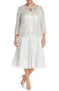 7de437574c Alex Evenings Tea Length Lace Chiffon gray Silver Jacket Dress 2 ...