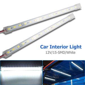 2x-12V-15-LED-Car-Interior-White-Strip-Lights-Bar-Lamp-Car-Van-Caravan-Boat-Home