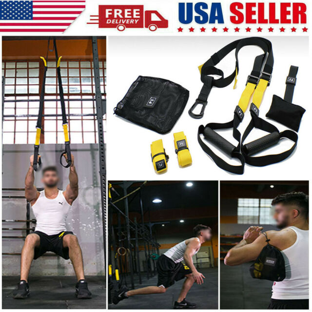 SUSPENSION TRAINER Straps Training KIT CrossFit HOME Workout Strength Gym Fit