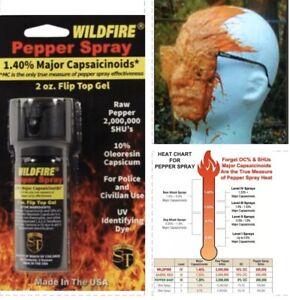 HOTTEST Wildfire! 1.4MC STICKY Pepper GEL Spray FLIP TOP 2 oz Self Home Defense