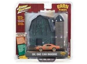 Dodge-Cargador-1969-Granero-encuentra-Diorama-escala-1-64-por-Johnny-Lightning