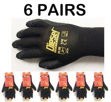 6 Pair Diesel Black Safety Gloves Latex Coated Grip Cut Resistant Large
