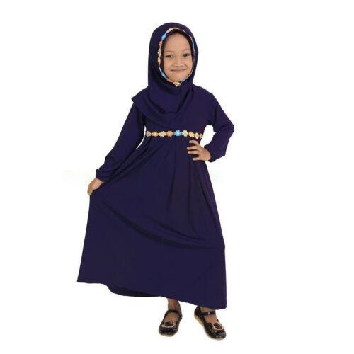 1-6 T Enfants Robe hijab définit les filles musulmanes printemps automne Abaya enfant Islamique Caftan