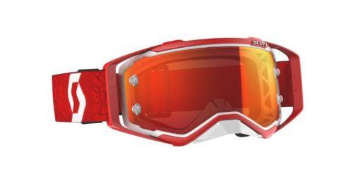 Orange Chrome Works lens Red Scott Prospect Motocross Tear off Goggles White