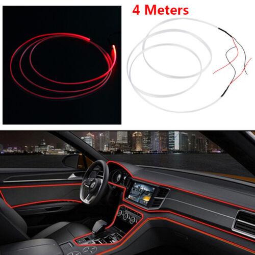 4M LED Auto Rot Ambientebeleuchtung Innenraumbeleuchtung Lichtleiste Linie DIY #