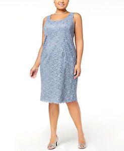 360-ALEX-EVENINGS-WOMENS-BLUE-LACE-MIDI-A-LINE-CREW-NECK-DRESS-PLUS-SIZE-16W