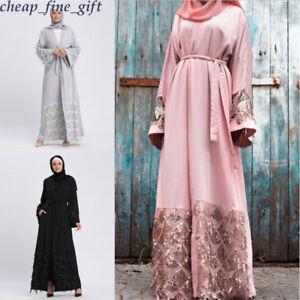 4bb01fbefe Women Sequin Dress Kimono Cardigan Dubai Tunic Gown Hijab Muslim ...