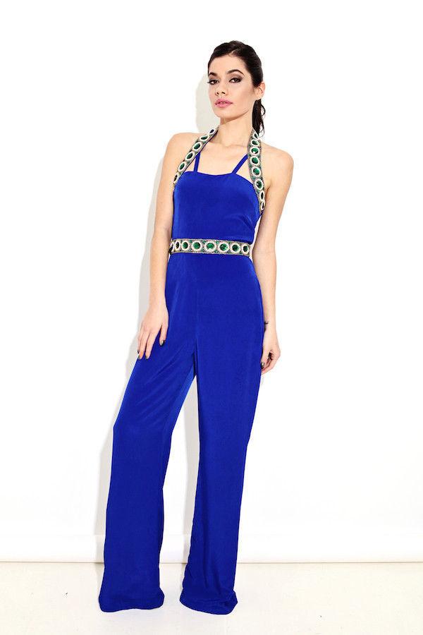 Virgos Lounge bluee Drape Party Jumpsuit Dress SIZE UK8 EUR36 US4