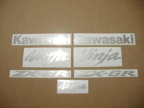 ZX6R Ninja brushed aluminium silver decals stickers graphics set 636 lined grey
